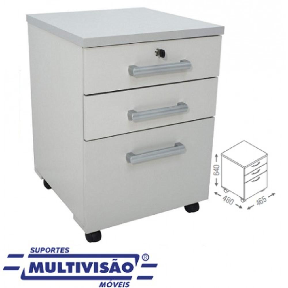 Gaveteiro Multivisão MO6100 Cinza P/ Pasta Suspensa E Rodízios