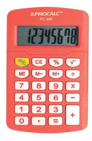 Calculadora de Bolso Procalc PC986, Laranja Citrus LINHA VIVID COLOR, 8 d�gitos, bateria (G10)