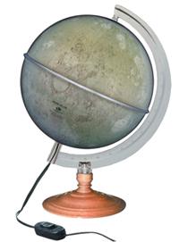 Globo Lunar Libreria  Lua Prata com 21 cm de diâmetro, base madeira, com iluminação interna 220v principais crateras, lagos e montes da Lua