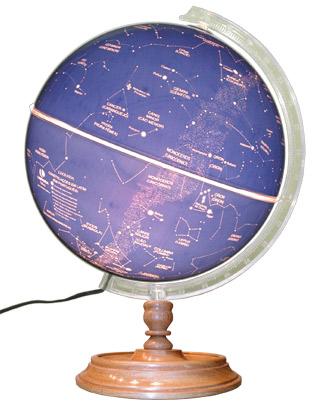 Globo Celeste Libreria CIELO, 30 cm de di�metro, base de Madeira, ilumina��o interna 220V, principais constela��es e estrelas.