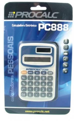 Calculadora de Bolso Procalc PC888 - 8 dígitos, solar/bateria, capa plástico