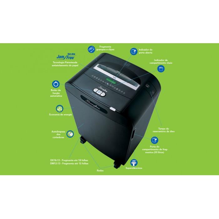 Fragmentadora de Papel Swingline DX18-13 220V - Corta até 18 fls em Partículas N3, CD/ DVD/ Cartão/ Clipes/ Grampos, Cesto: 50L, Fenda: 229mm, Funcionamento: Contínuo