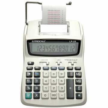 Calculadora de Impressão Procalc LP25  - Calc. Imp. 12 díg, relógio, 02 cores. 2,4 l/s. Usa adap. AC (110/220V) ou 4xbat.AA (IR40T)