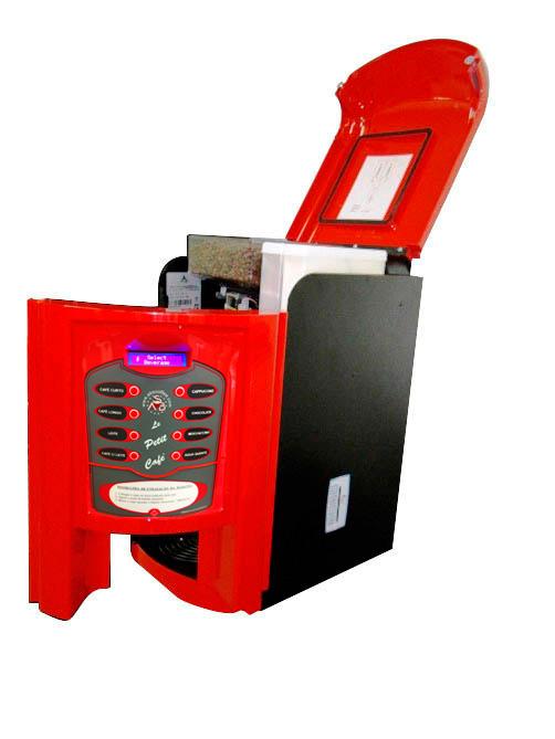 Máquina de Café Maqna Vending Le Petit Vermelha 220V - faz 8 tipos de bebidas, com moedor de café, display LCD em português