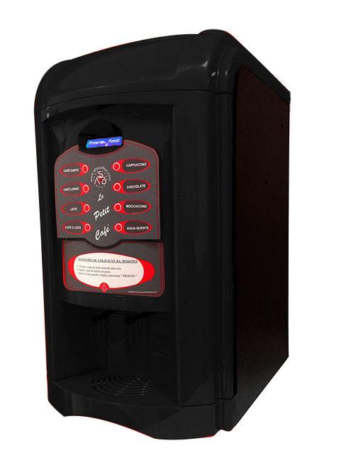 Máquina de Café Maqna Vending Le Petit Preta 110V - faz 8 tipos de bebidas, com moedor de café, display LCD em português
