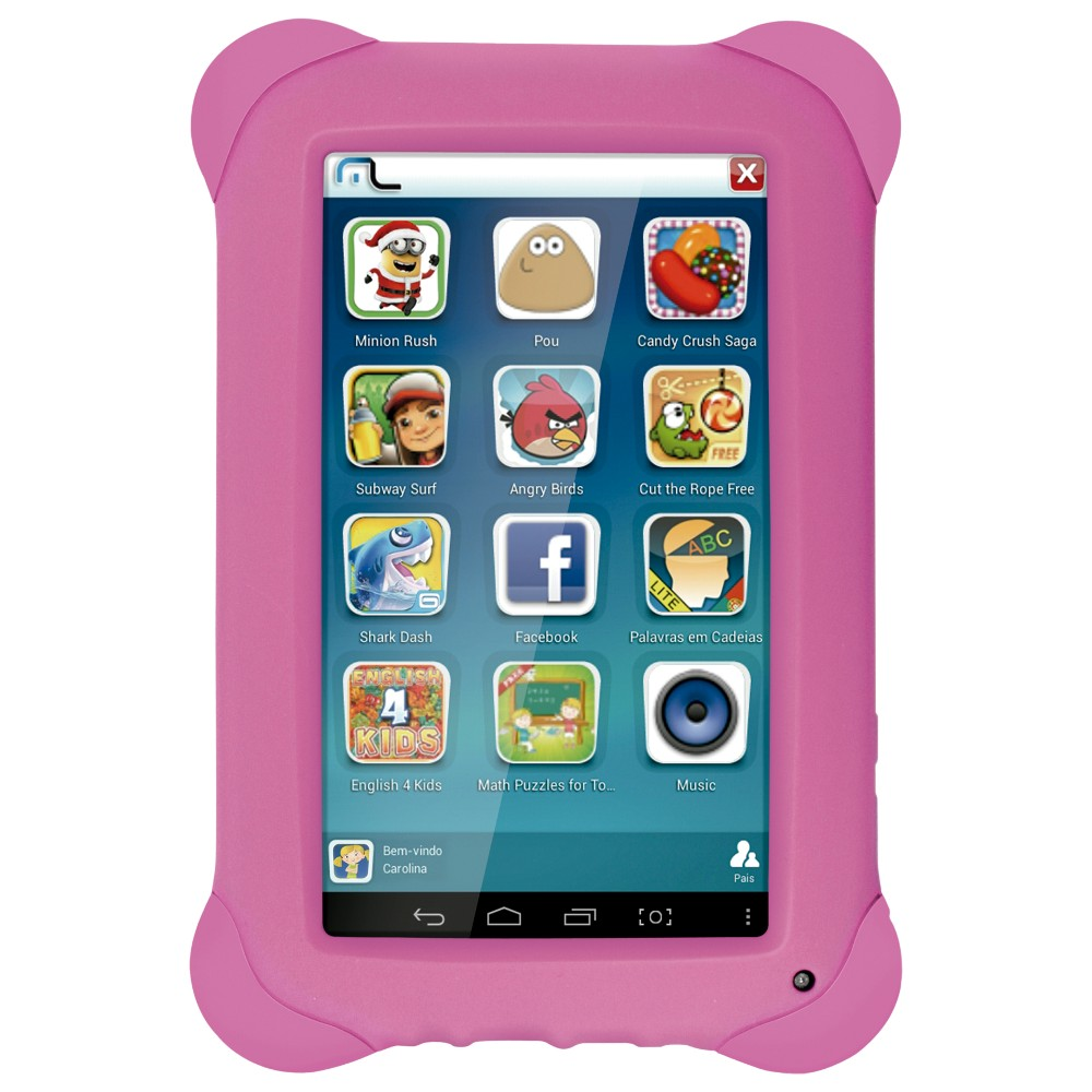 Tablet Multilaser NB195 kid rosa quad core dual camera wifi 7