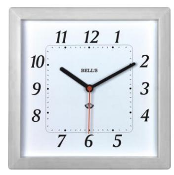 RELOGIO BELLS BRANCO, QUADRADO,BORDA BRANCA,24,6X24,6CM