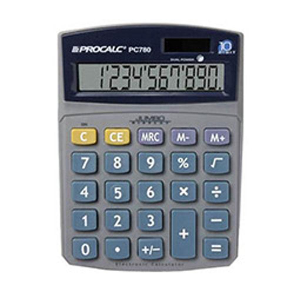 Calculadora de Mesa Procalc PC780 - 10 dígitos grandes, solar/bateria, visor inclinado