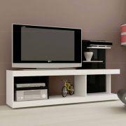 Rack p/ TV Até 42´ Multivisão Vision Branco com preto, Painel Decorativo ´UV´