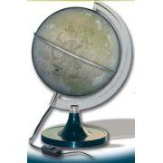 Globo Luar Libreria Lua Prata, 220v, Iluminado 21cm de diâmetro, base Plástico, Principais Crateras, lagos e montes da Lua.