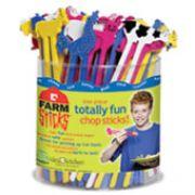 Hashi Infantil Bichos da Fazenda Farm Sticks Balde transparente com 48 unidades