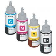 Kit com 4 cores de Tintas Refil Original Epson T664120AL Preto, T664420AL Amarelo, T664320AL Vermelho, T6642200AL Azul p