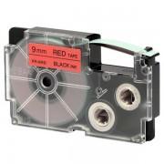 Fita Rotuladora Casio XR-9RD1 9mm preto no vermelho para etiquetadora KL