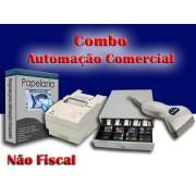 Combo para Automação Comercial Não Fiscal: Programa para Papelaria  + Leitor de Código de Barras + Impressora Matricial + Gaveteiro