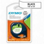 Blister C/ 2 un Fita Papel Dymo auto-adesiva p/ Rotulador Eletrônico LetraTag (12mm x 4 mts) - preto/branco - cód. 10697