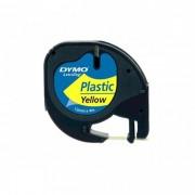 Fita Poliéster Dymo auto-adesiva p/ Rotulador Eletrônico LetraTag (12mm x 4 mts) - preto/ amarela - cód. 91332