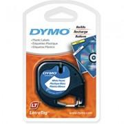 Fita Poliéster Dymo auto-adesiva p/ Rotulador Eletrônico LetraTag (12mm x 4 mts) - preto/ azul - cód. 91335