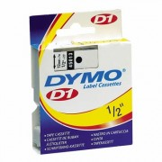 Fita Poliéster Dymo auto-adesiva p/ Rotulador Eletrônico Profissional (12mm x 7 mts) - preto/ branco - cód. 45013