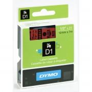 Fita Poliéster Dymo auto-adesiva p/ Rotulador Eletrônico Profissional (12mm x 7 mts) - preto/ vermelho -cód. 45017
