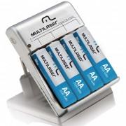 Carregador de Pilhas Multilaser CB054 carrega 2 ou 4 pilhas AA e AAA simultaneamente