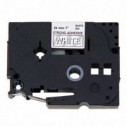 Fita p/ Rotuladora Brother TZS-155 - Largura: 24mm, Branco sobre Transparente, Comprimento: 8m