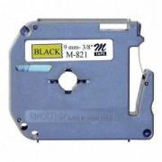 Fita p/ Rotulador PT Brother M-821 - Largura: 9mm, Preto/Dourado, Comprimento: 8m