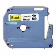 Fita p/ Rotulador PT Brother MK-631 - Largura: 12mm, Preto/Amarelo, Comprimento: 8m
