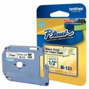 Fita p/ Rotulador PT Brother M-131 - Largura: 12mm, Preto/Transparente, Comprimento: 8m