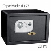 Cofre Safewell Fingerprint Safe 25FPN - c/ Leitor de Impressão Digital, Medidas Externas (AxLxP): 250x350x250mm, Peso: 13kg