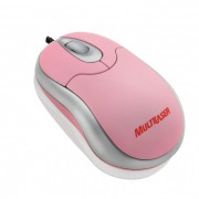 Mini Mouse Óptico Emborrachado USB Multilaser MO116 - Rosa