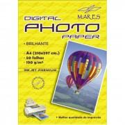Papel Fotografico (glossy photo paper 190gr) A4 210x297mm resistente a água Pacote com 50 folhas Mares