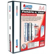 Fich�rio Chies com Visor para Personalizar - 4 Argolas - A4 - Preta - Ref.: 1401-1