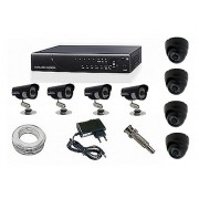 Kit CFTV Yub - 4 Câmeras Day Night, 4 Domi, DVR, 100 m de Cabo, Fonte, Conectores