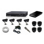 Kit CFTV Yub - DVR, 4 Câmeras Day Night, 4 Domi, HD 1 Tb, 100 metros de Cabo, Fonte, Conectores