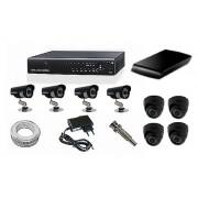 Kit CFTV Yub - DVR, 4 Câmeras Infra com 24 Leds, HD 1 Tb, 100 metros de Cabo, Fonte, Conectores