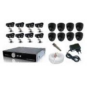 Kit CFTV Yub - DVR, 8 Câmeras Infra com 24 Leds, 200 metros de Cabo, Fonte, Conectores