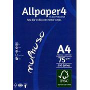Papel sulfite A4 Branco com 500 folhas Allpaper (1 Pacote)