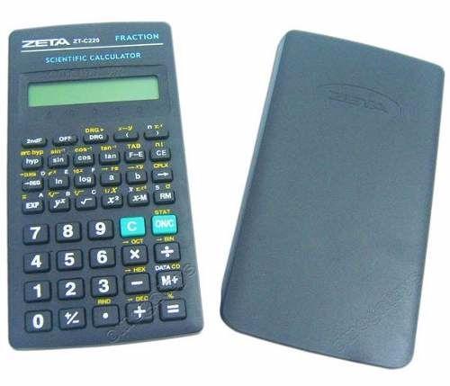 Calculadora Científica Zeta ZT-C220 - 10 2 dígitos, Científica de 56 funções, com tampa protetora rígida, 2 x bat. LR44