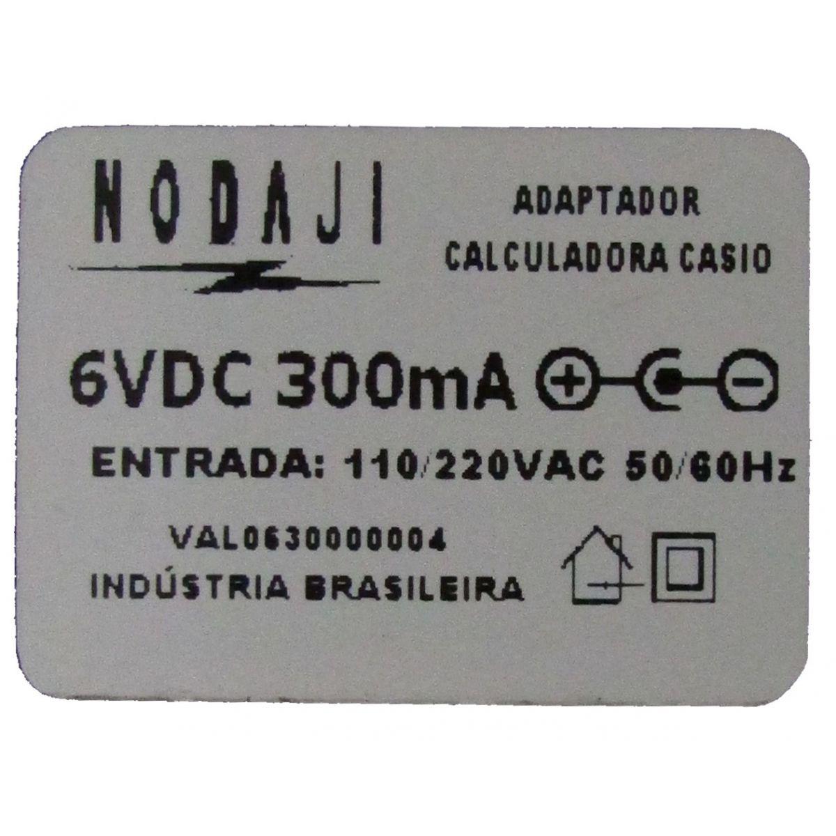 Fonte de Alimentação Conversor Bivolt 110/220VAC 50/60Hz  6pVDC mA p/ calculadora Casio HR Procalc LP19 LP20 LP25 Sharp EL1750 EL1611 EL1615 Elgin 5121