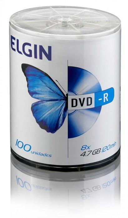 Mídia DVD-R Elgin 4.7 GB/120 min/8 X (Tubo com 100 unidades)