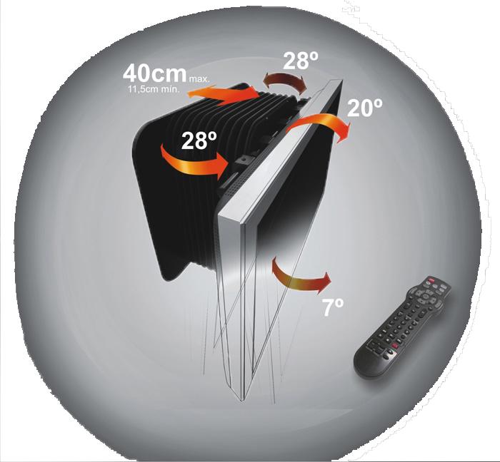 Suporte AUTOMATIZADO de Parede para TVs LCD / PLASMA / LED de 40´´ a 63´´ Multivisão - TELEROBOTIC X-ARM