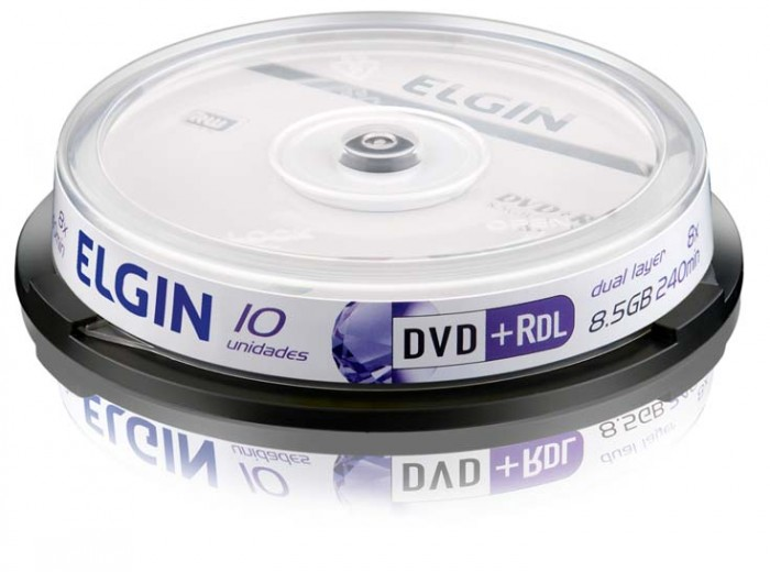 M�dia DVD+R DL Elgin 8.5 GB/240 min/8 X/Dual Layer (Pino com 10 unidades)