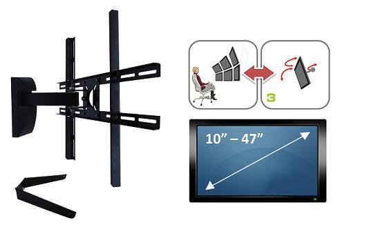 Suporte de parede para TV Plasma/LCD/LED de 10� � 55� - 2 Movimentos Vertical e 1 horizontal ( Inclui suporte para DVD ou Blu-ray ) Brasforma S1429/SBRP430