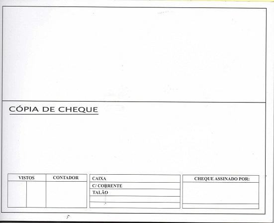 Cópia de Cheque Padronizada para Impressora de Cheque Chronos - Bloco com 50 unidades