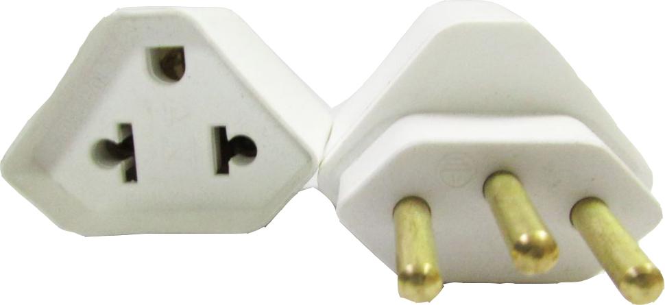 Adaptador de Tomada 3 pinos padrão antigo p/ 3 pinos padrão novo Branco