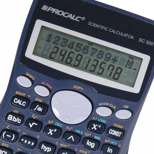 Calculadora Científica Procalc SC500 401 funções, 10+2 díg c/ 2a. Linha, Cálc. Integral, completo