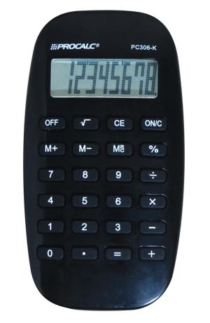 Calculadora de Bolso Procalc PC306  Preta, 8 dígitos, LCD Dot Matix design moderno