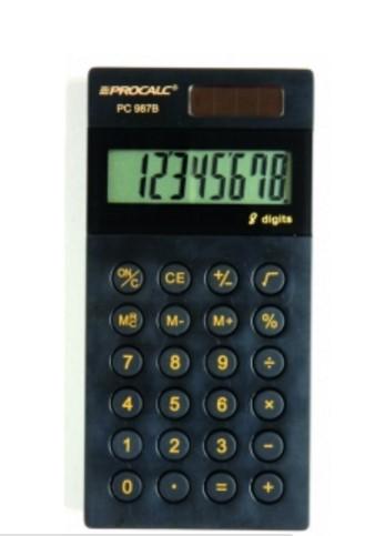 Calculadora de Bolso PC987-B - 8 dígitos, MODELO SLIM BLACK PIANO E NÚMEROS DOURADOS, solar/bat., (G10)