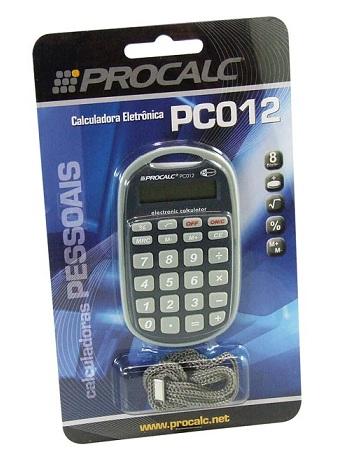 Calculadora de Bolso Procalc PC012 - 8 dígitos, bateria, acompanha cordão para pendurar , (G10)