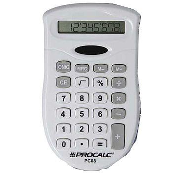 Calculadora de bolso Procalc PC08W Branca 8 dígitos, solar e pilha